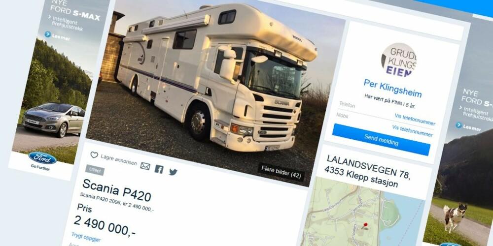 BO(LASTE)BIL: Scania-lastebil med boenhet med to etasjer, fire soverom, bad og eget verksted var den nest mest besøkte bilannonsen på finn.no i fjor.