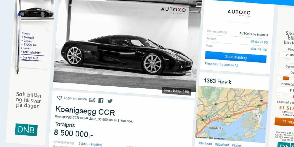 HELT TOPP: Koenigsegg CCXR er en av verdens raskeste og dyreste biler, og kan nå den smykke seg med den gjeve førsteplassen på topp ti-listen over de mest populære bilannonsene på finn.no i 2015.