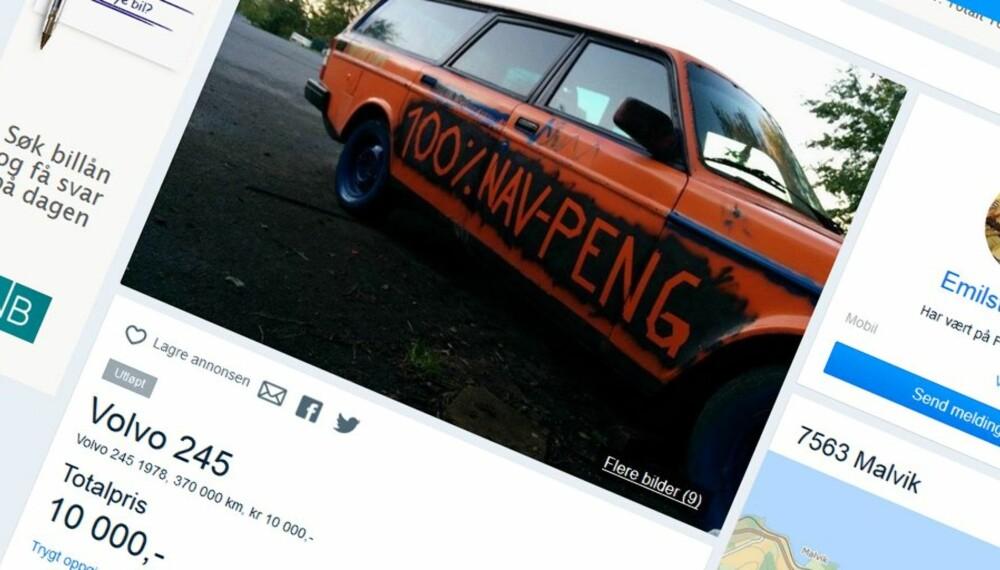 FULL FINANSIERING: Topplisten billigste bil er ifølge eier hundre prosent finansiert av NAV. Dette smykket av en Volvo 245 selges for den nette sum av 10 000 kroner.