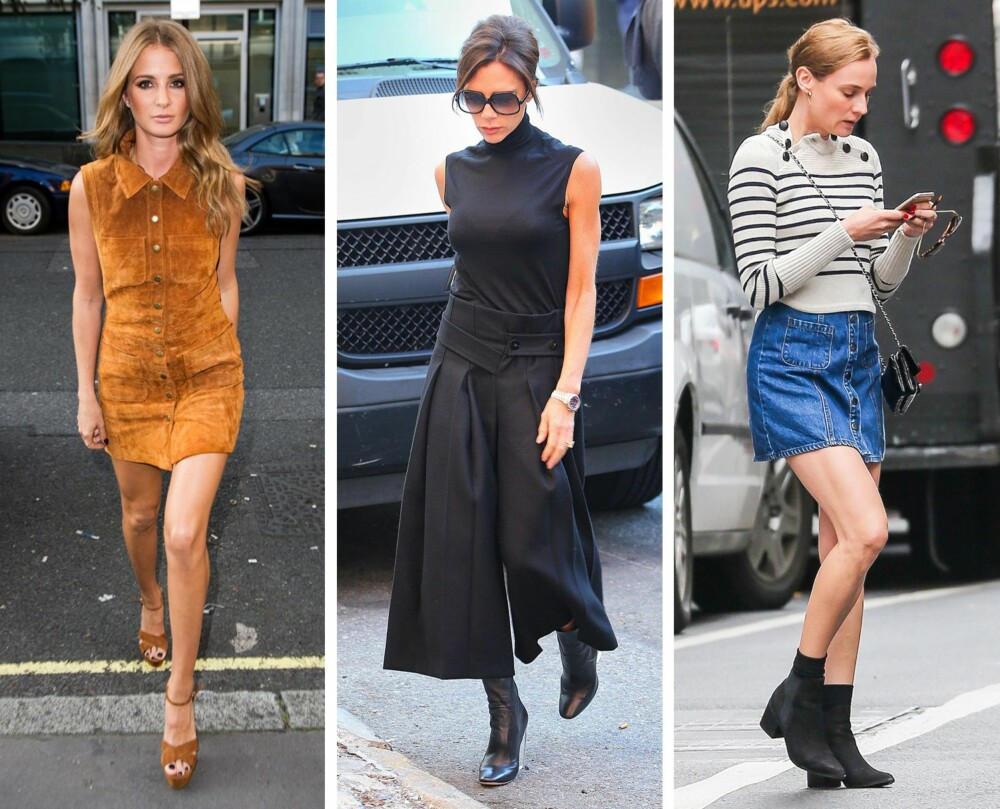 FORTSATT TRENDY: Både semsket skinn, culotter og denim, både i form av kjoler, skjørt og shorts, er trendy også i 2016. Fra venstre: Millie Mackintosh, Victoria Beckham og Diane Krüger.