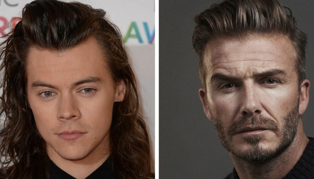"""TRENDY HÅRFRISYRER: Både Harry Styles og David Beckham har hver sin trendy hårfrisyre i år; langt og krøllete og """"The Quiff""""."""