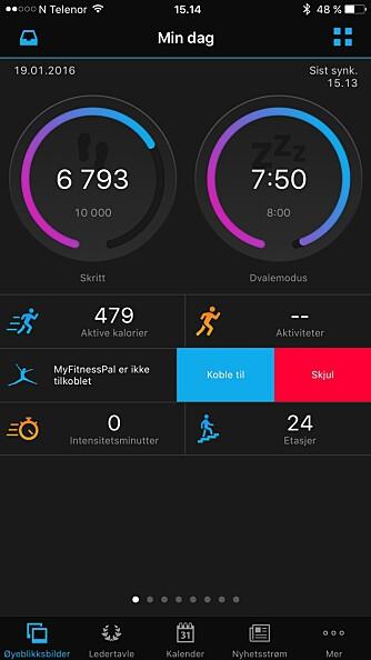 OVERSIKT: Appen Garmin Connect gir deg oversikt over hvor aktiv du har vært.