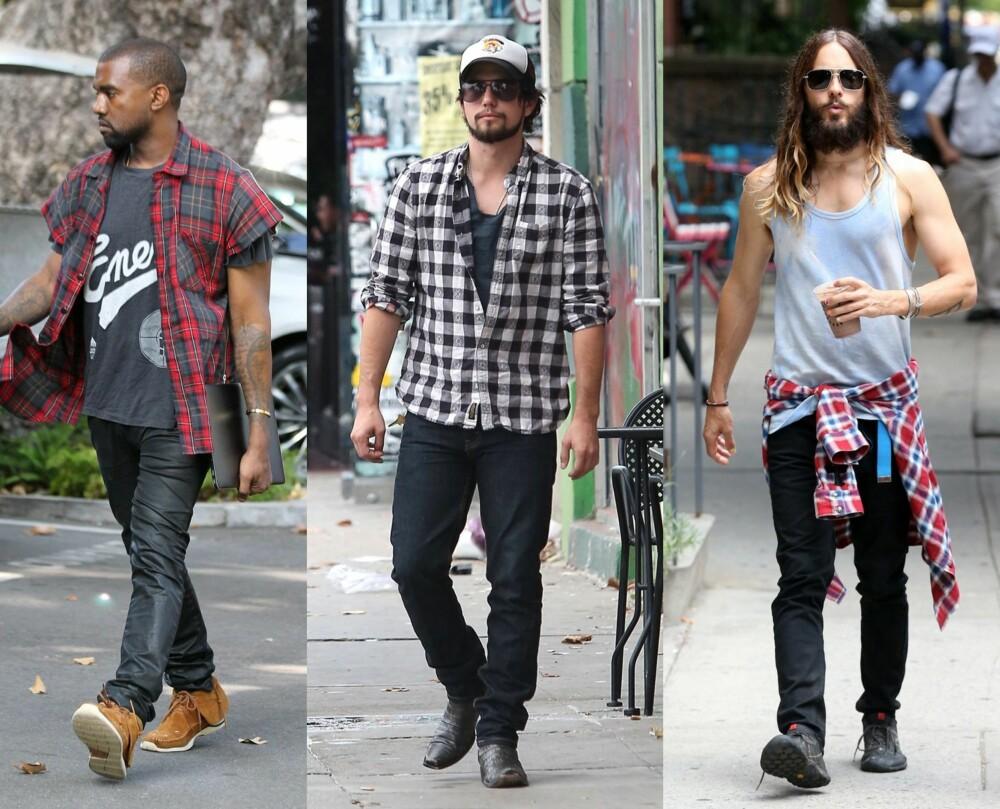 INSPIRASJON: Både Kanye West, Jackson Rathbone og Jared Leto har alle elementer fra den lumberseksuelle stilen: skjegg, flanellskjorte og kule boots.