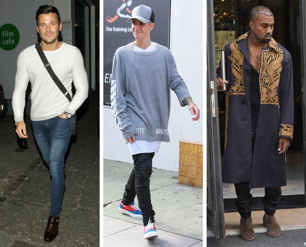 TRENDER VI ER FERDIG MED: Både skinny jeans, baseball-caps, store T-skjorter og dype utringninger er trender moteekspertene håper og tror vi er ferdig med nå. Fra venstre: realitykjendis kjent fra TOWIE, Mark Wright, Justin Bieber og Kanye West.