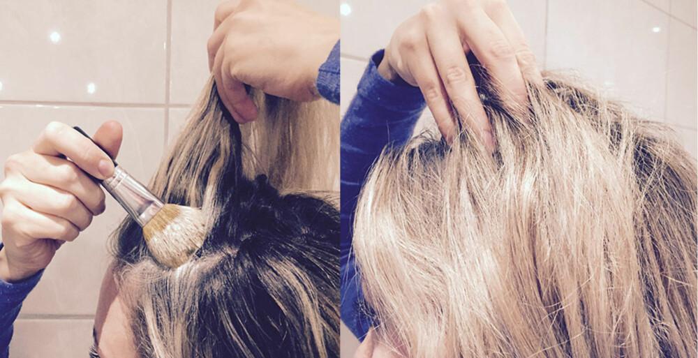 PÅFØRING: Du trekker opp litt og litt deler av håret mens du fordeler litt av miksen rundt omkring på kronen. Husk å legge miksen under håret, ikke midt oppå skillen. Du avslutter med å massere hodeskallen med fingertuppene for å løfte håret.