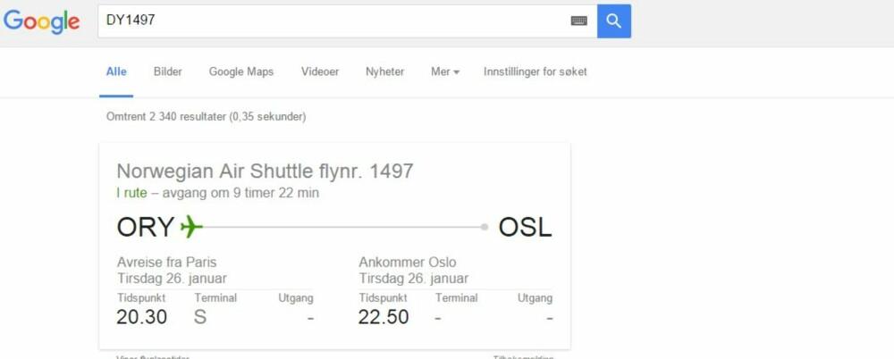 GOOGLE FLIGHTNUMMER: Er flyet ditt i rute? Hvor lenge er det til avgang? Hvilken terminal? Gate? Skjermdump: Google.com