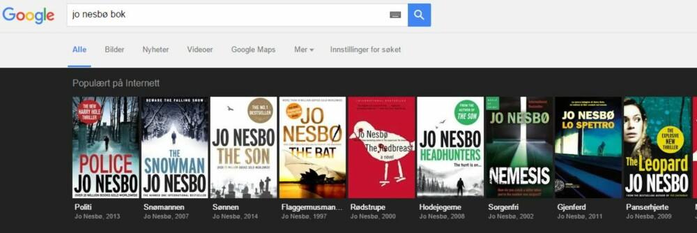 GOOGLE MER AV SAMME FORFATTER: Hvilke flere bøker har forfatteren skrevet? SKJERMDUMP: Google.com
