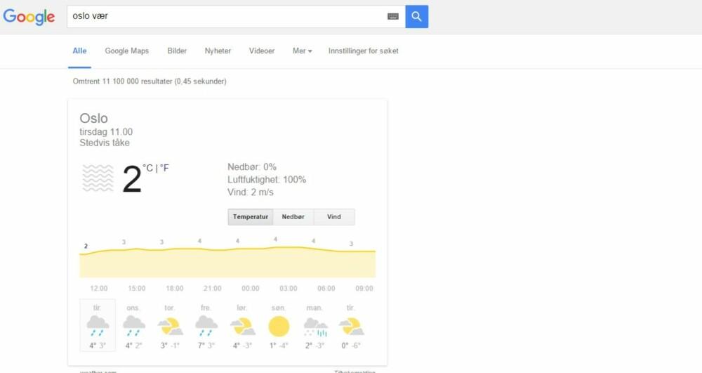 GOOGLE VÆRET: Finnes det en enklere måte å sjekke været på? SKJERMDUMP: Google.com