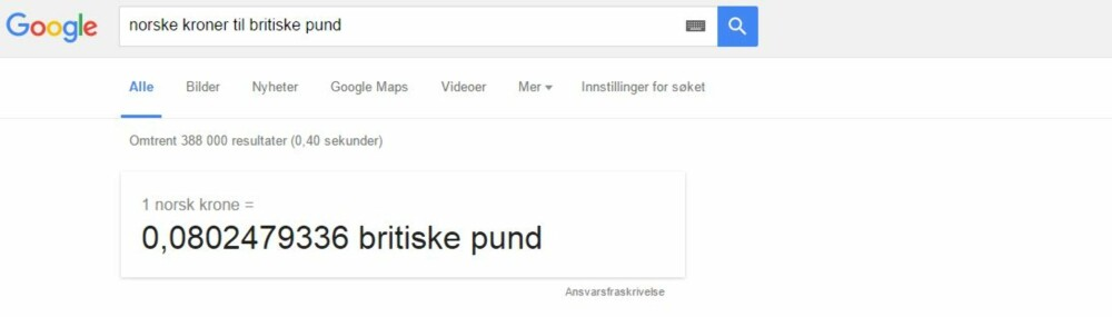 GOOGLE VALUTAKALKULATOR: Regner ut valuta for deg. SKJERMDUMP: Google.com
