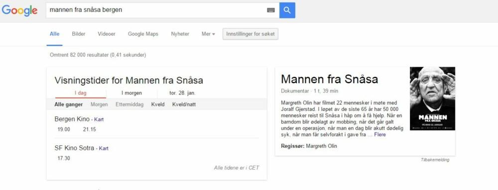 GOOGLE KINOTIDER: Google kan selvsagt fortelle deg også dette. SKJERMDUMP: Google.com