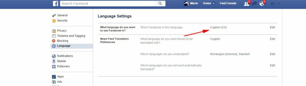 FACEBOOK GRAPH SEARCH: Funksjonen blir automatisk aktiverti søkefeltet på Facebook når du bytter språk fra norsk til engelsk. SKJERMDUMP: Facebook.com