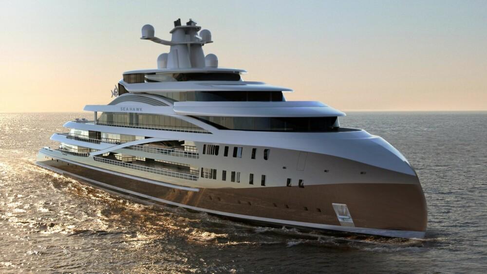 GODT DRIV: Den 103 meter lange båten har en toppfart på 19 knop og en rekkevidde på 12 000 nautiske mil. Den spesielle baugen er designet for å penetrere bølger og gi komfortabel og effektiv framdrift. ILLUSTRASJON: Hawk Yachts