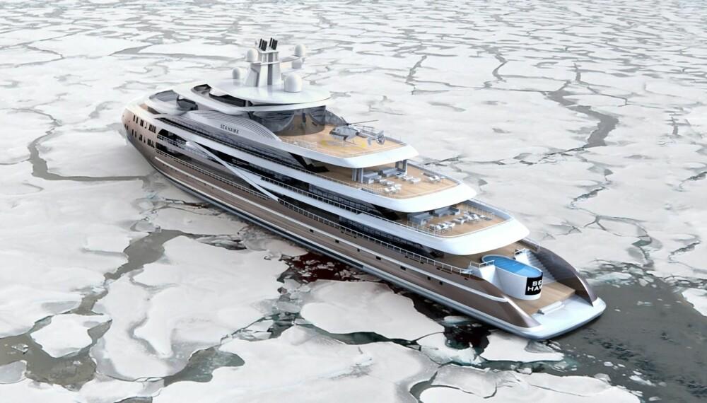 HOLKEFØRE: Sea Hawk tåler 100 tonn is frosset fast på yttersiden og lar seg ikke stoppe av is før den er over 80 centimeter tjukk. ILLUSTRASJON: Hawk Yachts