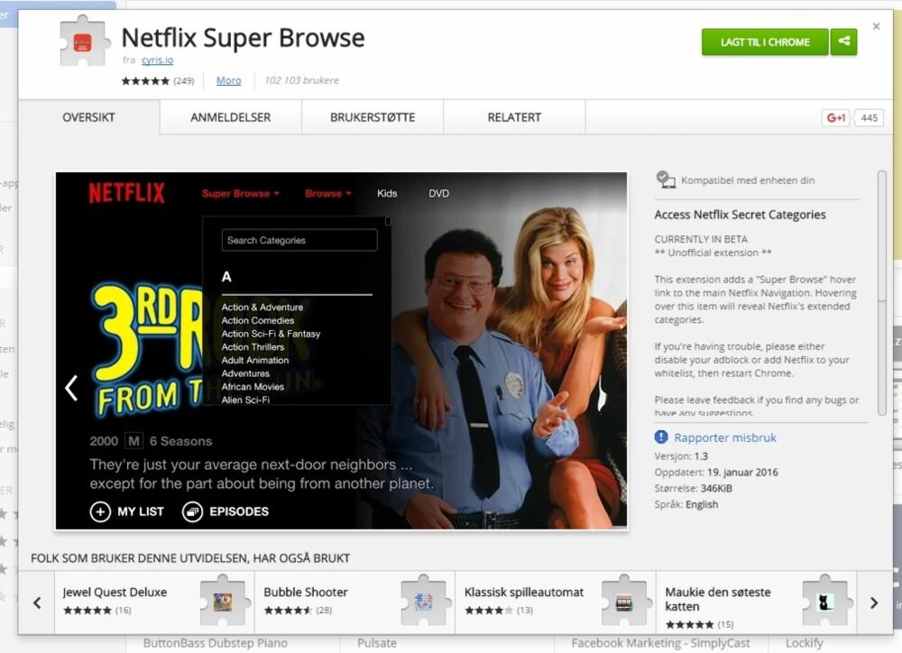 FLERE KATEGORIER: Med Netflix Super Browse-tillegget til Google Chrome får du plutselig hundrevis av flere kategorier å velge mellom.