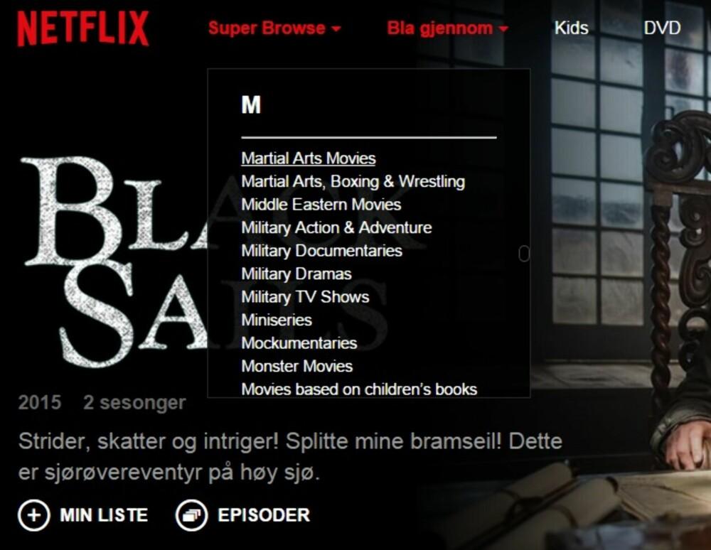 KUNG-FU: Martial Arts Movies er en kategori mange nok er interessert i. Netflix Super Browse gir deg ikke større utvalg av filmer, men det blir lettere å finne akkurat den type filmer du har lyst å se.