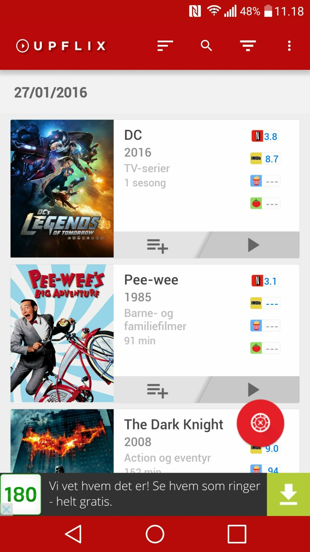 MOBIL-VARSEL: Upflix er en app for Android og iOS og kan gi deg varsel på mobilen hver gang Netflix legger til noe nytt.