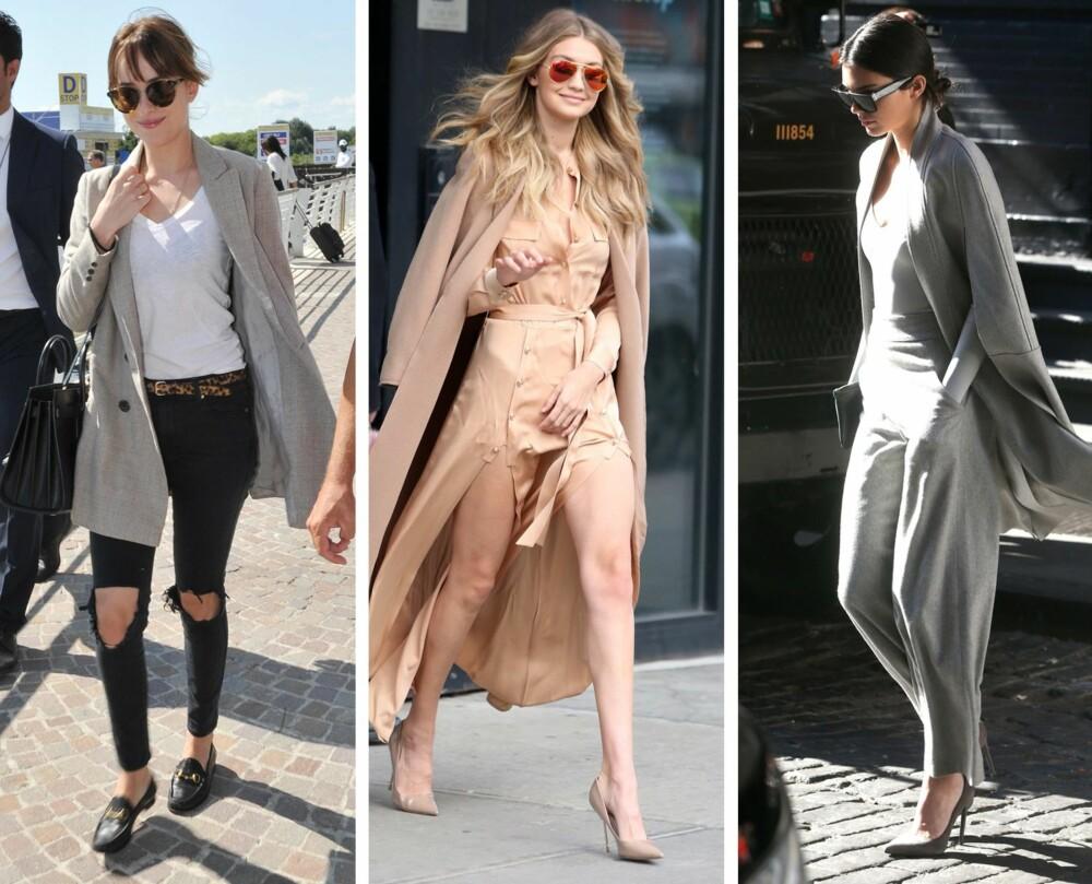 TRENDY PÅ HÅRET (f.v.): Skuespiller Dakota Johnson i pannelugg, modell Gigi Hadid med naturlig farge og fall, og modell Kendall Jenner med lav knute i nakken.