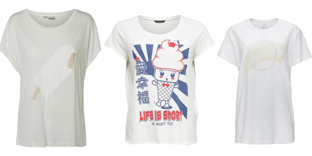 """SI DET MED EN IS: T-skjorte fra Noisy May, kr 179, """"life is short""""-trykk fra Only,  kr 109 og  trøye fra ADPT, kr 199."""
