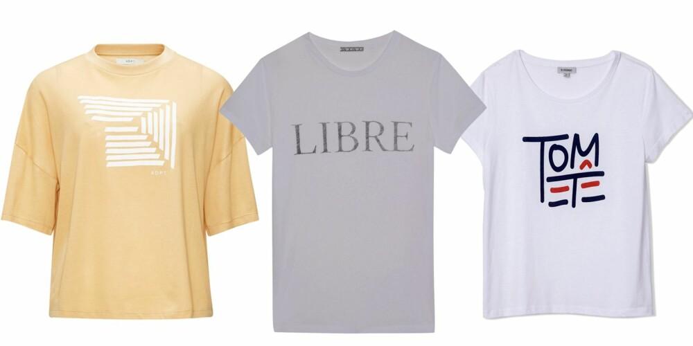 FINE TRYKK: Gul t-skjorte fra ADPT, kr 249, grå fra Dagmar, kr 595 og fra Totême, kr 700.