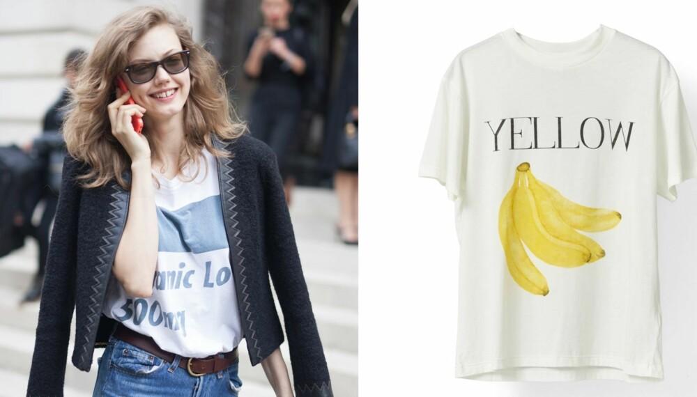 T-SKJORTER MED TRYKK: Røff opp jeansen og dressjakken med en t-skjorte med detlajer for et streetsmart uttrykk. T-skjorte med banantrykk fra Ganni, kr 499.