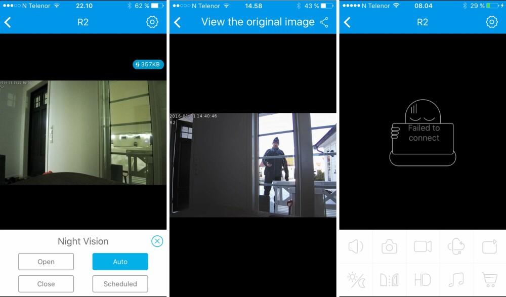 APP: Noen skjermbilder fra appen til Foscam R2. Fra vestre mot høyre ser du et eksempel på et nattbilde, et bilde tatt av kameraets bevegelsessensor og til slutt et bilde som viser noe som skjer av og til når appen ikke oppnår kontakt med kameraet.