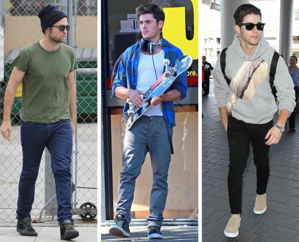 20-ÅRENE: Jeans, collegegenser, kule sneakers og skjorter er stikkord for menn i 20-årsalderen. Fra venstre: Robin Pattinson, Zac Efron og Nick Jonas.