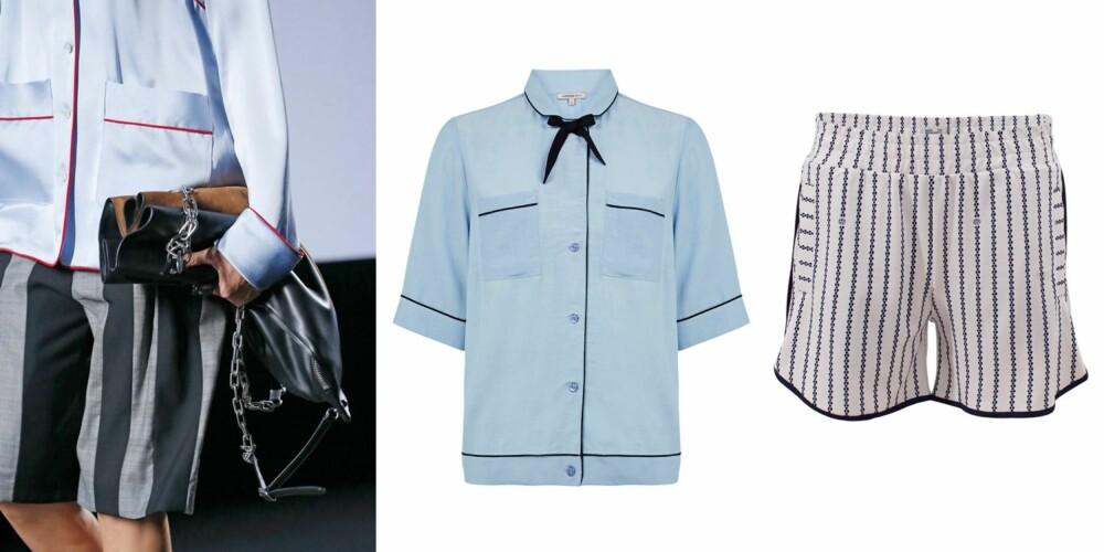LÅN PYSJEN TIL TYPEN: La deg inspirere av Alexander Wang! Lyseblå skjorte med sløyfe (kr 385, Marks & Spencer) og stripete shorts (kr 700, Baum und Pferdgarden).