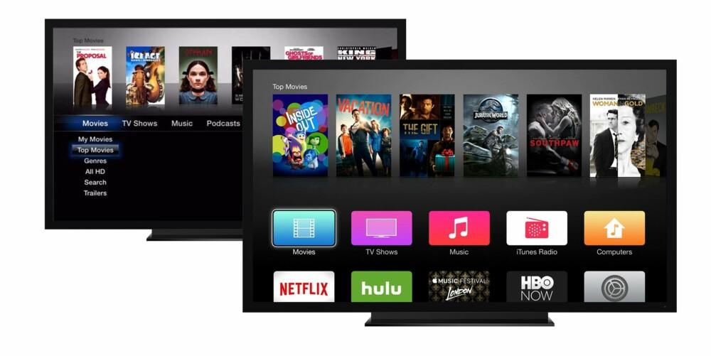 IKONER: Da AppleTV 3 kom i 2012 hadde de endret menysystemet fra et oversiktlig tekstbasert brukergrensesnitt til ikoner man måtte skrolle nedover for å finne igjen.