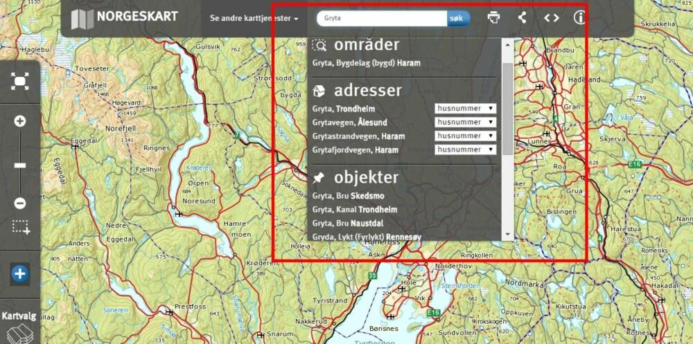SØK: I karttjenesten kan du søke og få frem områder, adresser eller objekter.