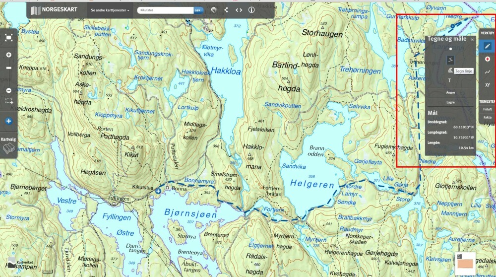 EGEN RUTE: Bruk tegne- og måleverktøyet for å tegne din egen rute inn på kartet.