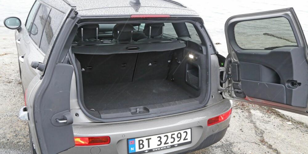 MER PLASS: Forgjengeren hadde et bagasjerom som kalte på fliret. Den nye Clubman har klart mer bagasjeromsvolum til rådighet.