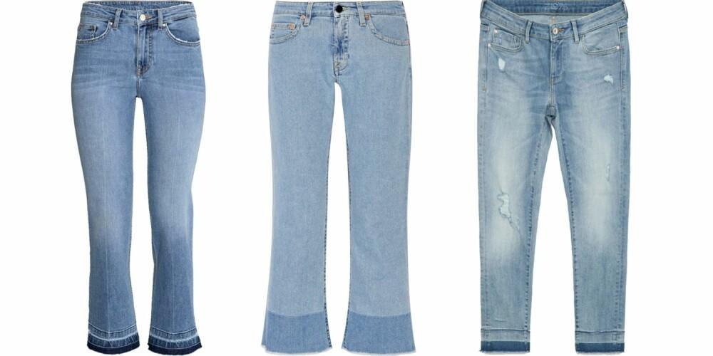 OPPKLIPTE JEANS: Kort modell (kr 299, H&M), vide nederst - til en latterlig dyr pris (cirka kr 3800, Victoria Beckham/Net-a-Porter.com) og en løs modell (kr 299, Zara).