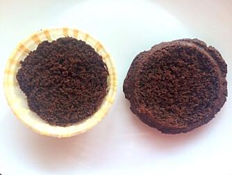 Kutt av toppen på muffinsen og skjær ut et hjerte i toppen.