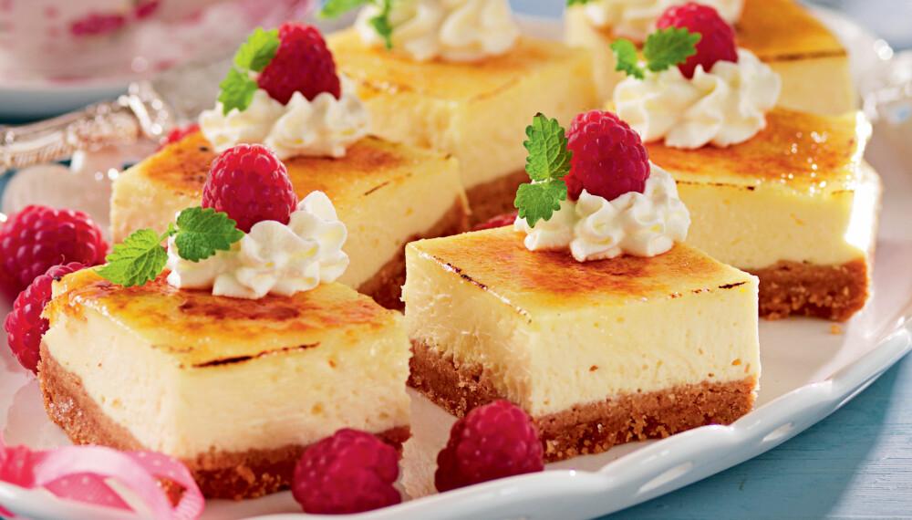 OSTEKAKE: Denne ostekaken løftes til nye høyder av brulélokket.