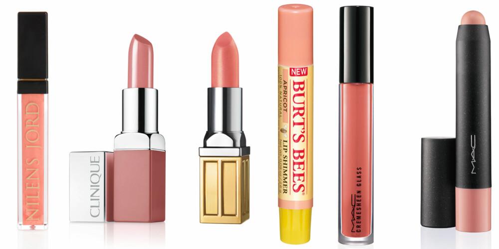 FERSKENLEPPER: Lipgloss i fargen Pearly Peach (kr 175, Nilens Jord), Pop Lip Colour and Primer i fargen Nude Pop (kr 210, Clinique), Beautiful Color Lipstick i fargen Sunburst (kr 260, Elizabeth Arden), Lip Shimmer i fargen Apricot (kr 119, Burt`s Bees) og Patentpolish Lip Pencil i fargen Revved Up (kr 180, MAC).