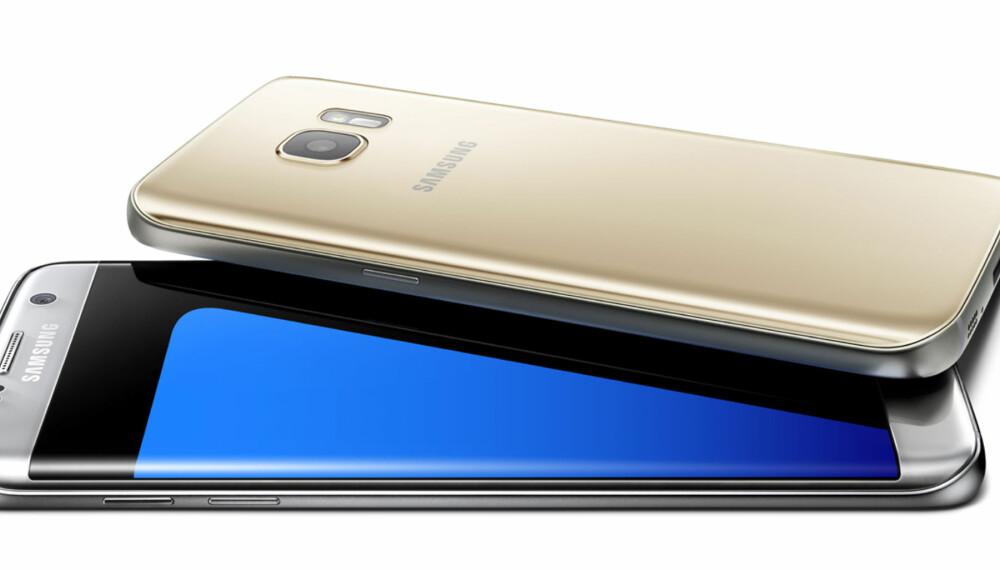 """TVILLINGER: Galaxy S7 Edge (sølv) og Galaxy S7 (gull) er to nye """"tvillingmobiler"""" fra Samsung."""