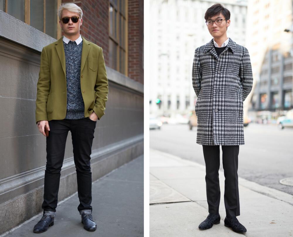 Både motejournalist Lars Midtsjø og moteblogger og PR-agent Henrik Skansen stemmer for kragen under genseren, men som bildet til venstre viser kan det absolutt se bra ut med den utenfor også!