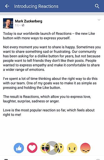 SJEFEN: Mark Zuckerberg tok selv til Facebook for å kommentere den nye funksjonen.