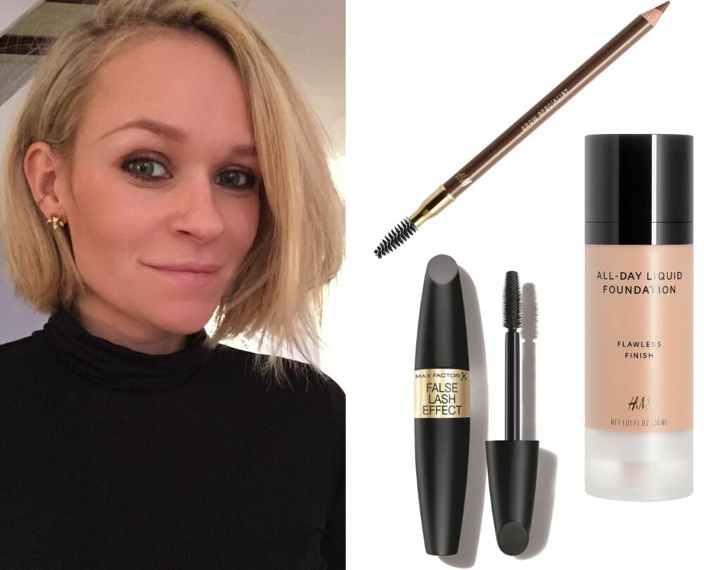AGNES SINE FAVORITTER (f.v.): H&M Eyebrow Pencil Espresso Brown, kr 39,90. Max Factor False Lash Effect Mascara, kr 179. H&M Liquid Foundation i fargen Warm Ivory, kr 99.