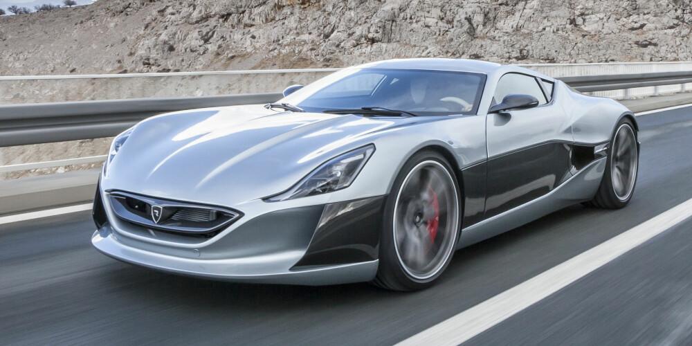 RIMAC: Produksjonsklare Concept_One fra kroatiske Rimac er ifølge selskapet verdens første helektriske hyperbil. Den har fire elektriske motorer som til sammen utvikler 1088 hk og 1600 Nm. Den skal greie 0-100 på 2,6 sekunder og 0-300 på 14,2 sekunder. FOTO: Rimac