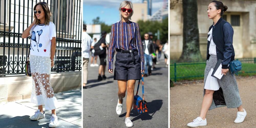 KONTRASTER ER KULT TIL SPORTY SKO: Kombinér gjerne skoene med detaøjer som frynser, blonder og striper for en kul stil.