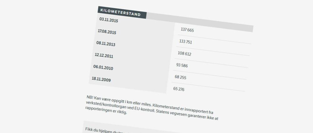 SJEKKE KILOMETERSTAND: På vegvesen.no kan du hente ut kilometerstanden slik den var ved tidligere EU-kontroller.