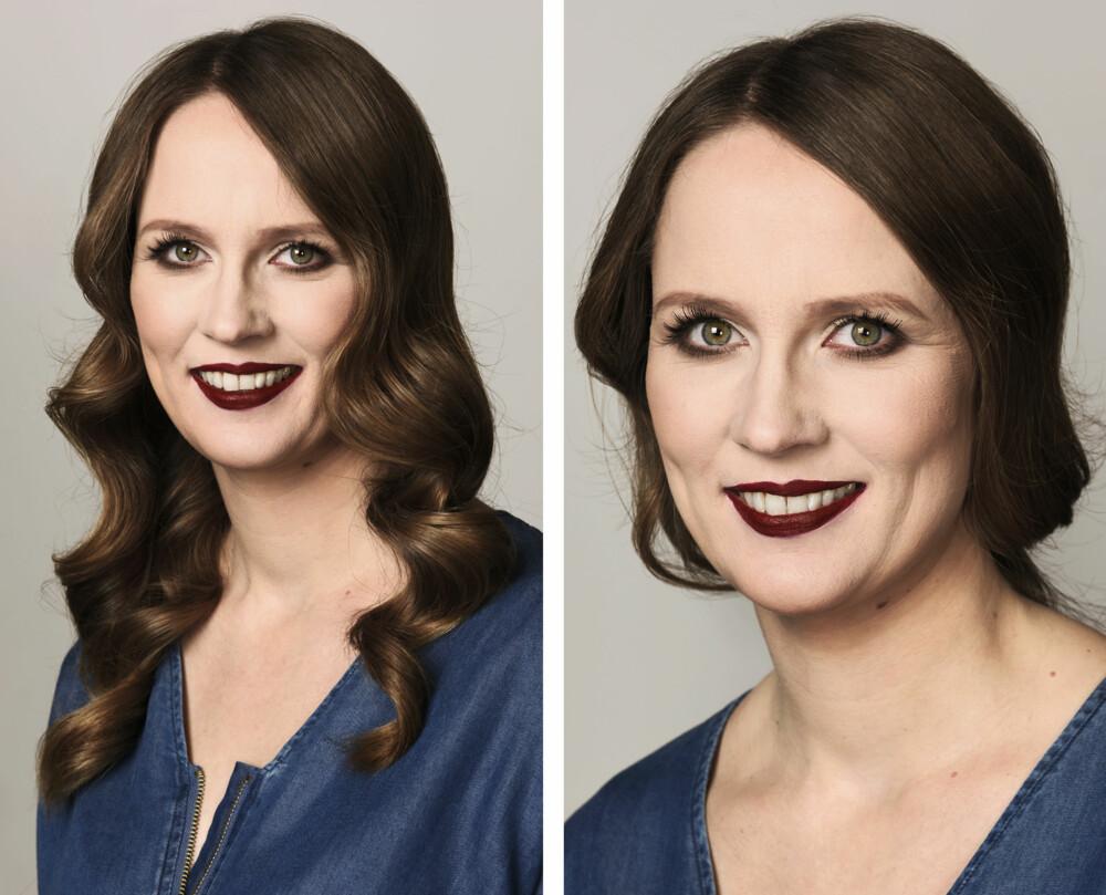 SMINKE OG HÅR: Frisør og makeupstylist Christine Mellem krøllet håret til Inger-Helene og la en lekker, sotet sminke.