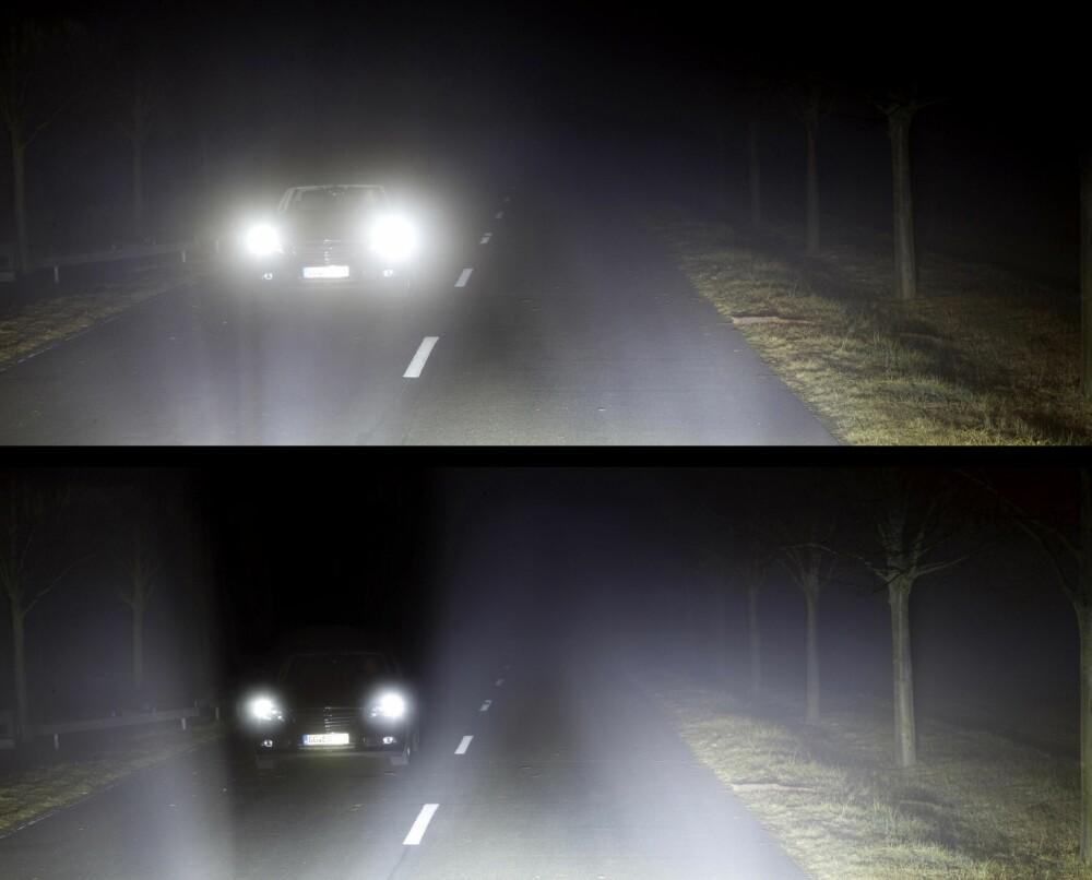MØRKT FELT: Det nederste bildet viser hvordan LEDmatrixlysene lager et mørkt felt rundt den møtende bilen. Det øverste bildet viser hvordan den møtende sjåføren ville ha blitt blendet av vanlige xenonfjernlys.