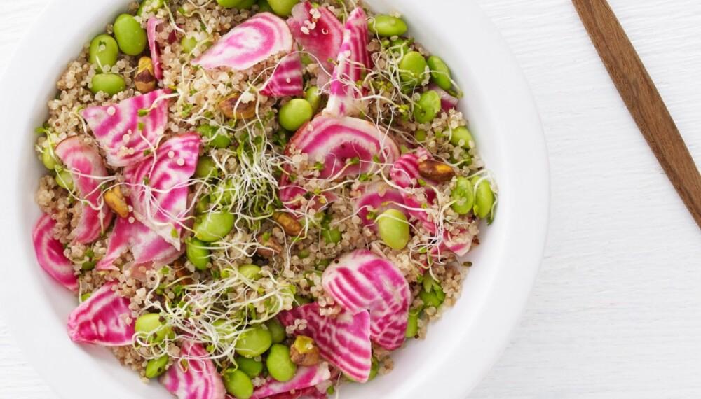 FRESH OG LETT QUINOASALAT: Lag gjerne opp mer av salaten slik at du har til flere måltider. Disse ingrediensene holder seg godt i kjøleskapet selv om de er tilberedt.
