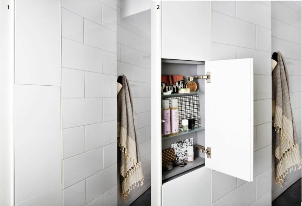 1+2. Now you see me, now you don´t. I veggen er det bygget inn fire grunne skap fra Ifö, som likevel gir plass til alt av kremer, tannbørster og medisiner. Skapdørene går i flukt med veggen, slik at man sparer både plass og visuelt bråk.