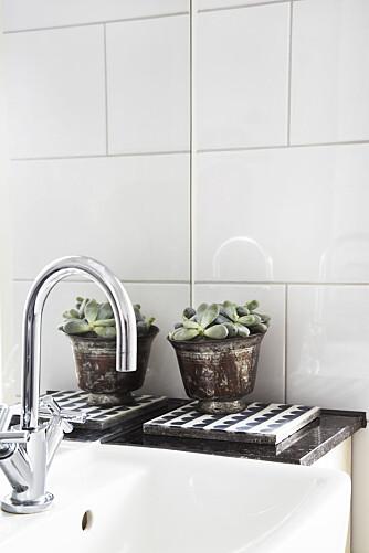 Vasken fra Ifö er bygget inn i hyllen, som er en fortsettelse på sisternen. Benkeplate i sort granitt skaper fin kontrast til det hvite rommet, og står i stil til gulvet. En betongflis fra House of Rym pynter opp sammen med en potteplante. Armatur fra Dornbracht.