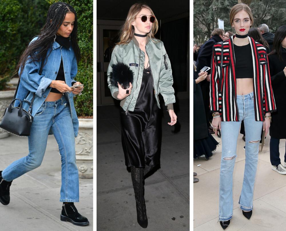 90-TALLS TRENDER: Både artist Zoe Kravitz, modell Gigi Hadid og moteblogger Chiara Ferragni har lagt sin elsk på 90-talls trendene denim, crop top, choker og bomberjakken.