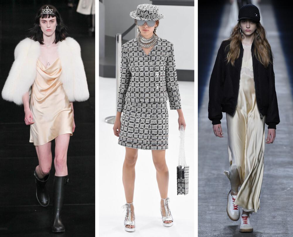 TRENDENE PÅ CATWALKEN (f.v): Silkekjole hos Saint Laurent, choker hos Chanel og cap, bomberjakke og silkekjole hos Alexander Wang.