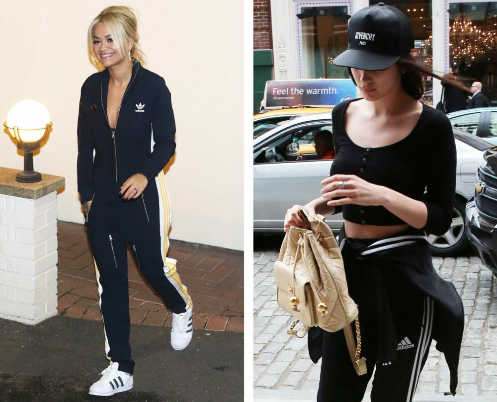SPORTY STIL: Rita Ora til venstre i trendy tracksuit, og modell Bella Hadid i Givenchy-cap (og tracksuit!).